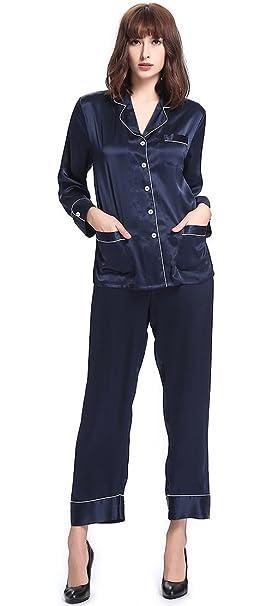 Lilysilk Conjunto De Pijamas Seda con Guarnición Chic 22 Momme Azul Marino Talla