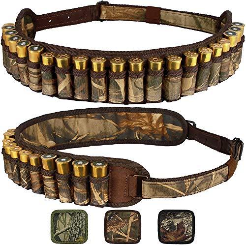 BronzeDog Waterproof Shell Holder Nylon Shotgun Bandolier 12 16 Gauge Durable Camo Belt Case 24 Rifle Ammo Pouch Hunting Accessories (Brown Cane Camo)