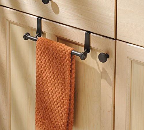 mDesign Vintage Metal Decorative Kitchen Sink Over Cabinet Steel Metal Towel Bars - Storage and Organization Drying Rack for Hanging Hand, Dish, Tea Towels - 10.5'' Wide, Pack of 2, Bronze