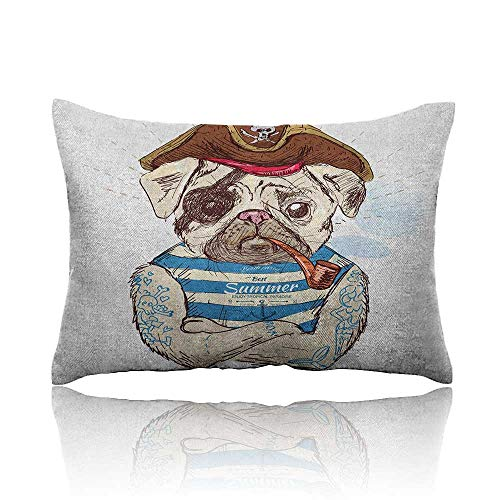 Anyangeight Pug Cars Pillowcase Pirate Pug Conqueror of The Seas Pipe Skulls and Bones Hat Striped Sleeveless T-Shirt Youth Pillowcase 18