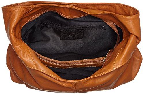 fermeture la éclair femme dans in CTM main cuir Orange à véritable à Cuoio bandoulière 41x55x12cm sac en Italy 100 sac Made SnqzwY