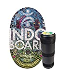 """INDO BOARD Original Balance Board with 6.5"""" Roller and 30"""" X 18"""" Non-Slip Deck – Doodle Design"""