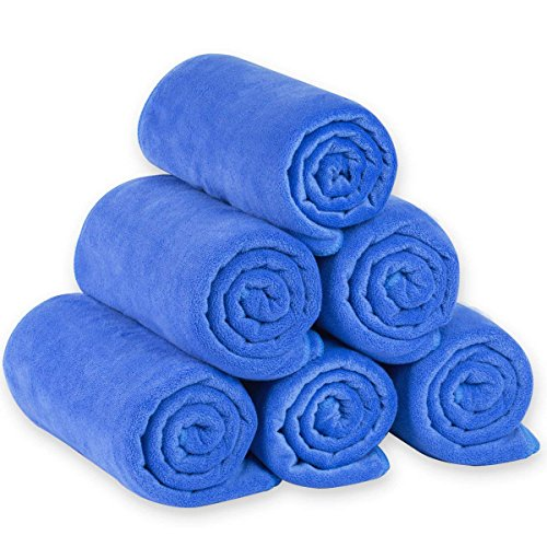 JML Microfiber Bath Towels, Bath Towel Sets (6 Pack, 27 x 55) - Extra Absorbent and Fast Drying,Multipurpose Microfiber Towel for Bath, Beach, Pool, Sports, Yoga - Blue