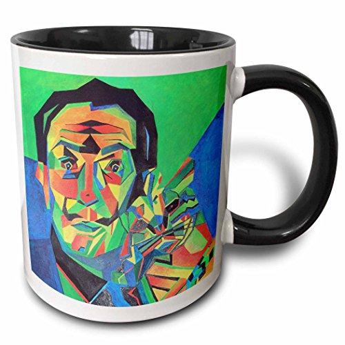 3dRose 46752_4 Cane, Salvador dali, Ocelot, Portrait, Man, Male, cat Ceramic Mug 11 oz Black/White ()