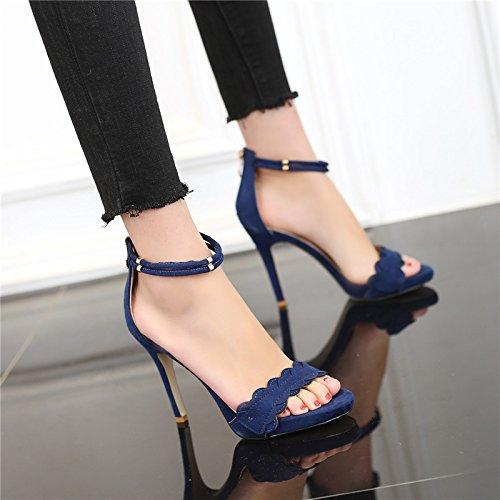 de tacón Blue de Zapatos alto 7cm tacón Plataforma de verano abierto de Zapatos Sandalias respirables mujer de alto de alto tacón Zapatos Sandalias alto impermeable tacón de palabra de VIVIOO tacón xXFwUCqU