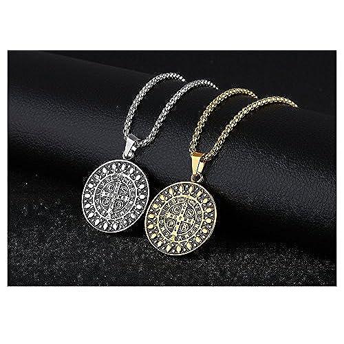ea2fab5e19c2 Barato Collar de acero inoxidable con diseño de cruz y medalla de San  Benedicto para protección