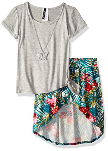 Instagirl Girls' Little Knit Top and Romper Skirt Set, Heather Grey/Tropical 6X