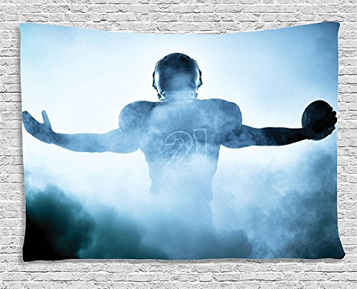 asddcdfdd Sports Decor Tapestry, Heroic Shaped Rugby Player Silhouette Shadow Standing in Fog Playground Global Sports Photo, Wall Hanging for Bedroom Living Room Dorm, 80 W X 60 L Inches, Blue ()