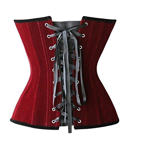 ZAMME Lencería gótica del terciopelo del estilo de las mujeres que adelgaza los corsés del partido Overbust Bustiers Rojo