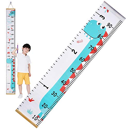 Accmor Kids Growth Chart, Dinosaur Kids Height Wall Chart Hanging Height Chart Wall Ruler, Wood Frame Fabric Canvas Height Chart for Kids, Easy to Install & Remove
