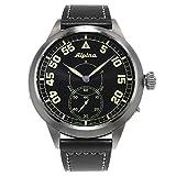 Alpina Pilot Heritage Mens Mechanical Hand-Wind Black Face Black Leather Swiss watch AL-435BN4SH6