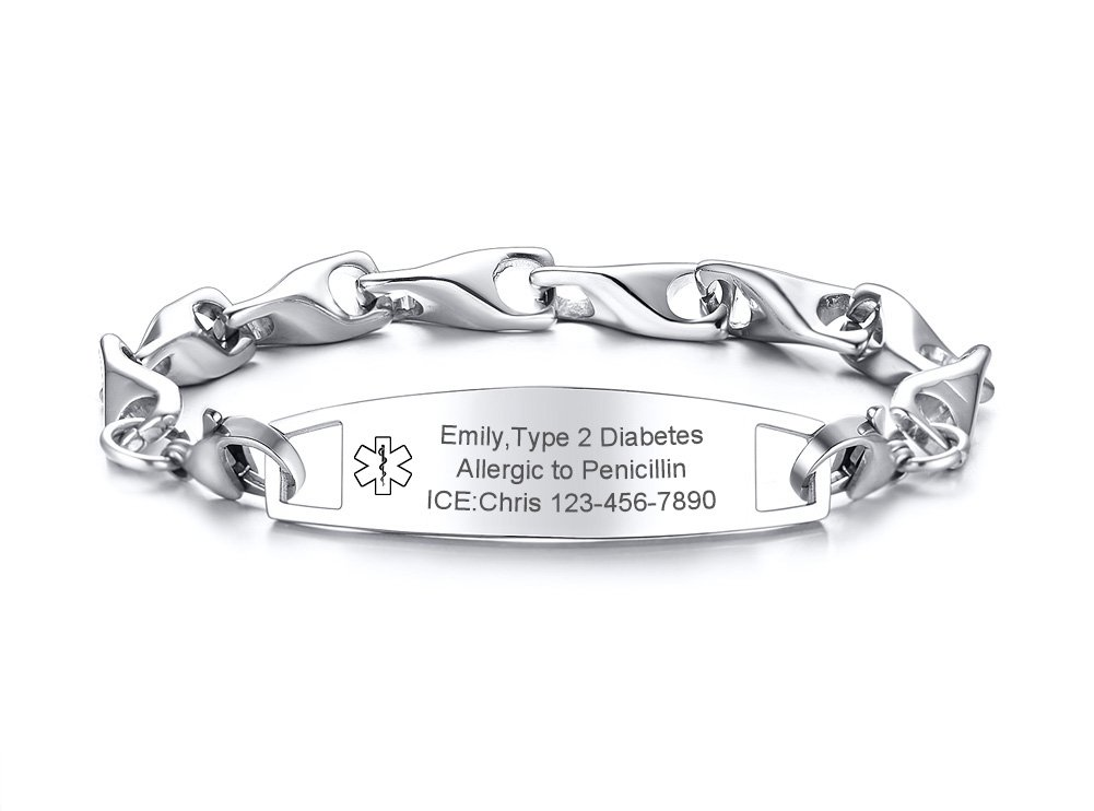 VNOX Custom Engraving-12MM Medical Alert ID Special Link Chain Double Lobster Clasp Stainless Steel Bracelet