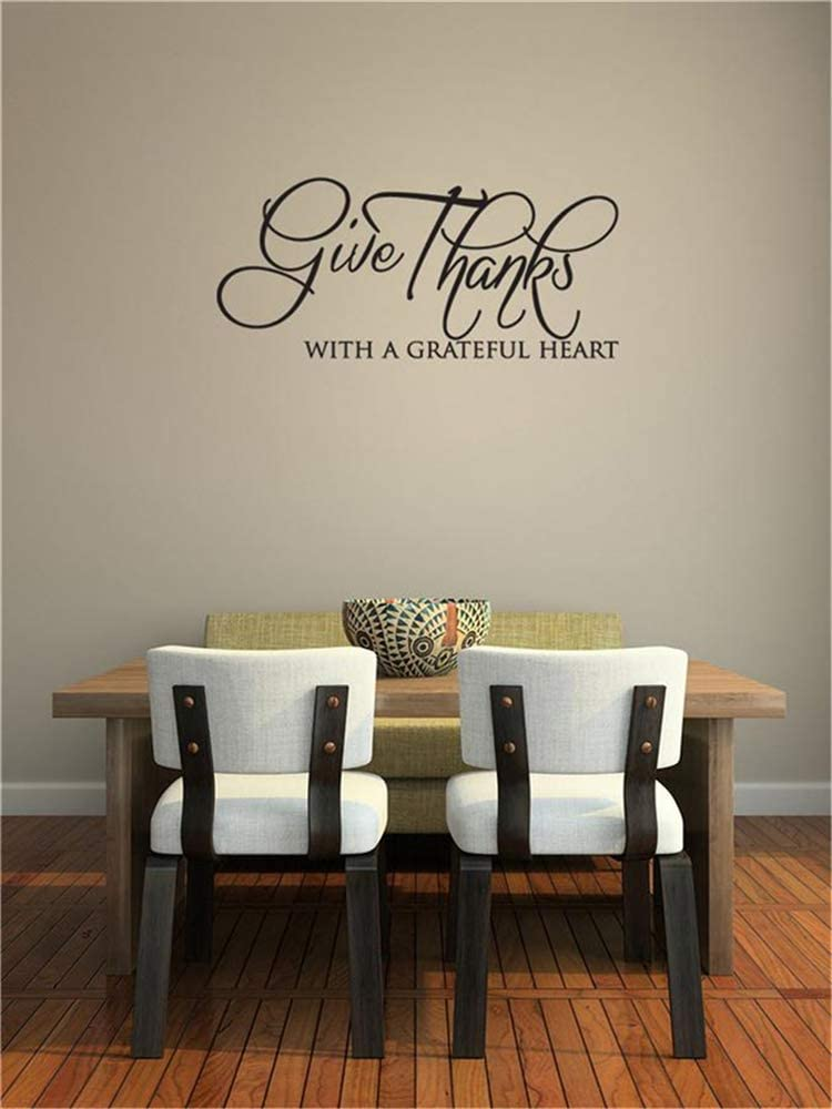 Vinyl Wall Statement Family DIY Decor Art Stickers Home Decor Wall Art Give Thanks with A Grateful Heart for Living Room Bedroom