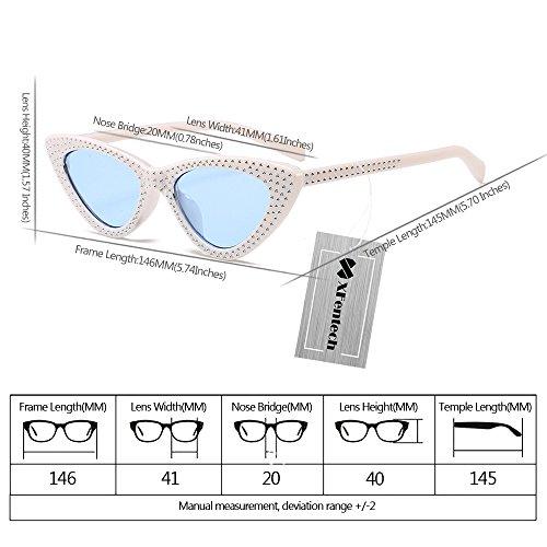 Rétro Lunettes Lunettes Cadre XFentech Chat Classique Mode Bleu Œil Blanc de UV400 Femmes Lentille de soleil Triangle UCERCqv