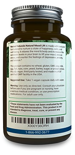 MOOD LIFT | Relaxation, Anti Stress and Anxiety Reduction Supplement | 60 Vegan Capsules for Natural Relief | Serotonin Enhancer Complex With 5 HTP 100mg, L Methionine, Magnesium | Calm Booster Pills