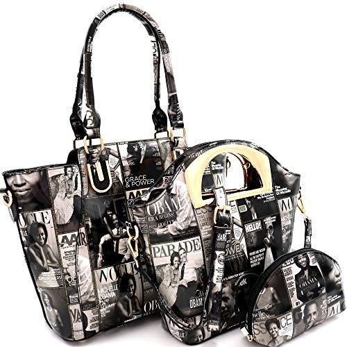 Michelle Obama Magazine Cover College Glossy 3 in 1 Satchel Tote Handbag SET (Tall - Black/White)