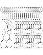 Liseng 150 stuks acryl transparante schijven en sleutelhangers, 2 inch, helder, lege acrylschijven, ronde sleutelband voor doe-het-zelfprojecten