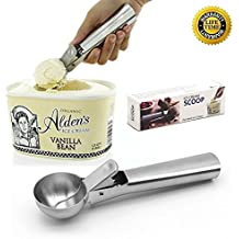 Ice Cream Scoop, Easy Trigger Professional German Stainless Steel Ice Cream Dipper for Fruits, Cookie Dough and Water Melon Scoop, Dishwasher Safe, Solid and Durable, FDA Approved