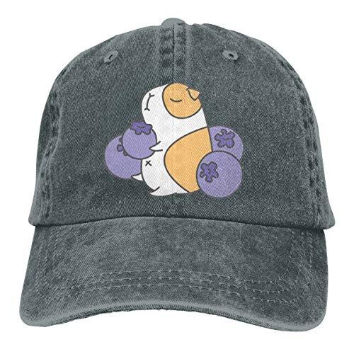 (Women's Men's Adjustable Baseball Cap Guinea Pig and Blueberry Hip Hop Hats Deep Heather)