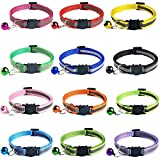 Tafeiya 12 Pcs Cat Collars,Reflective Design,Adjustable,More Safety Quick Release Safety Buckle with Bell (Multi-colored)