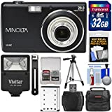 Minolta MN5Z 20MP HD Digital Camera (Black) with 32GB Card + Battery + Case + Tripod + Flash + Kit