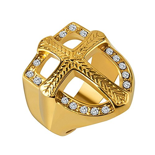 18k Designer Cross - Mens Knights Templar 18k Real Gold Plated Hip Hop Cz Inlay Shield Armor Cross Rings