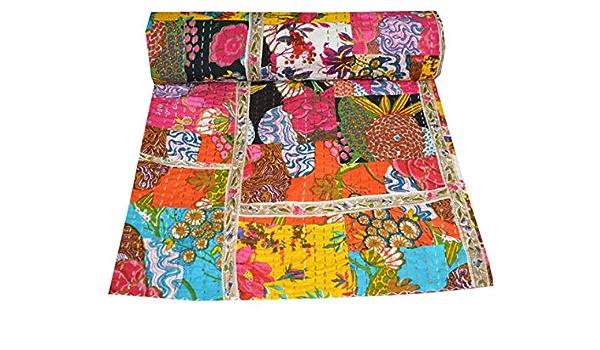 Vintage Handmade Reversible Kantha Quilt,Kantha Bedspread Gypsy Bohemian Old Sari Kantha Quilt