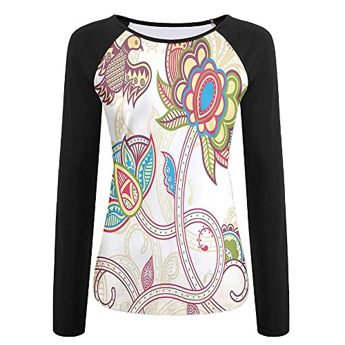 Weiding Ethnic Embellished Birds and Curved Flower Petals Shabby Chic Style Artsy Women's Stretchy Long Sleeve Raglan Tshirt XXL