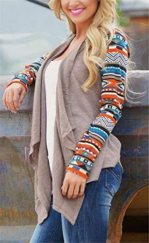 A Giaccone Manica In Donna Elegante Confortevole Cappotto Donne Lunga Baggy Pattern Top Maglia Casual Kahki Autunno Giacca Stampate Irregular Classiche dwxzAqRd