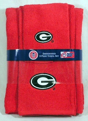 Exceptional Georgia Bulldogs 3 Piece Embroidered Bath Towel Gift Set