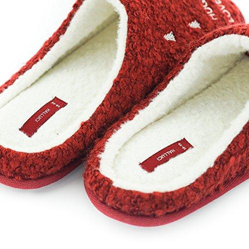 Halluci Julegave Røde Kvinners Slippers Varm Innendørs Huset Bomull Bunnen Av Vanntett