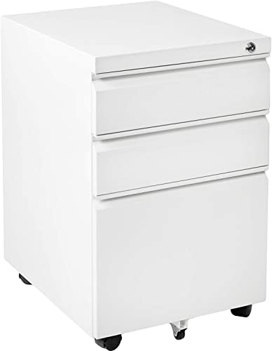 INVIE 3 Drawer Fille Cabinet, Mobile File Cabinet with Lock, Metal Vertical File Cabinet Rolling Metal Filing Cabinet with Hanging File Frame White A