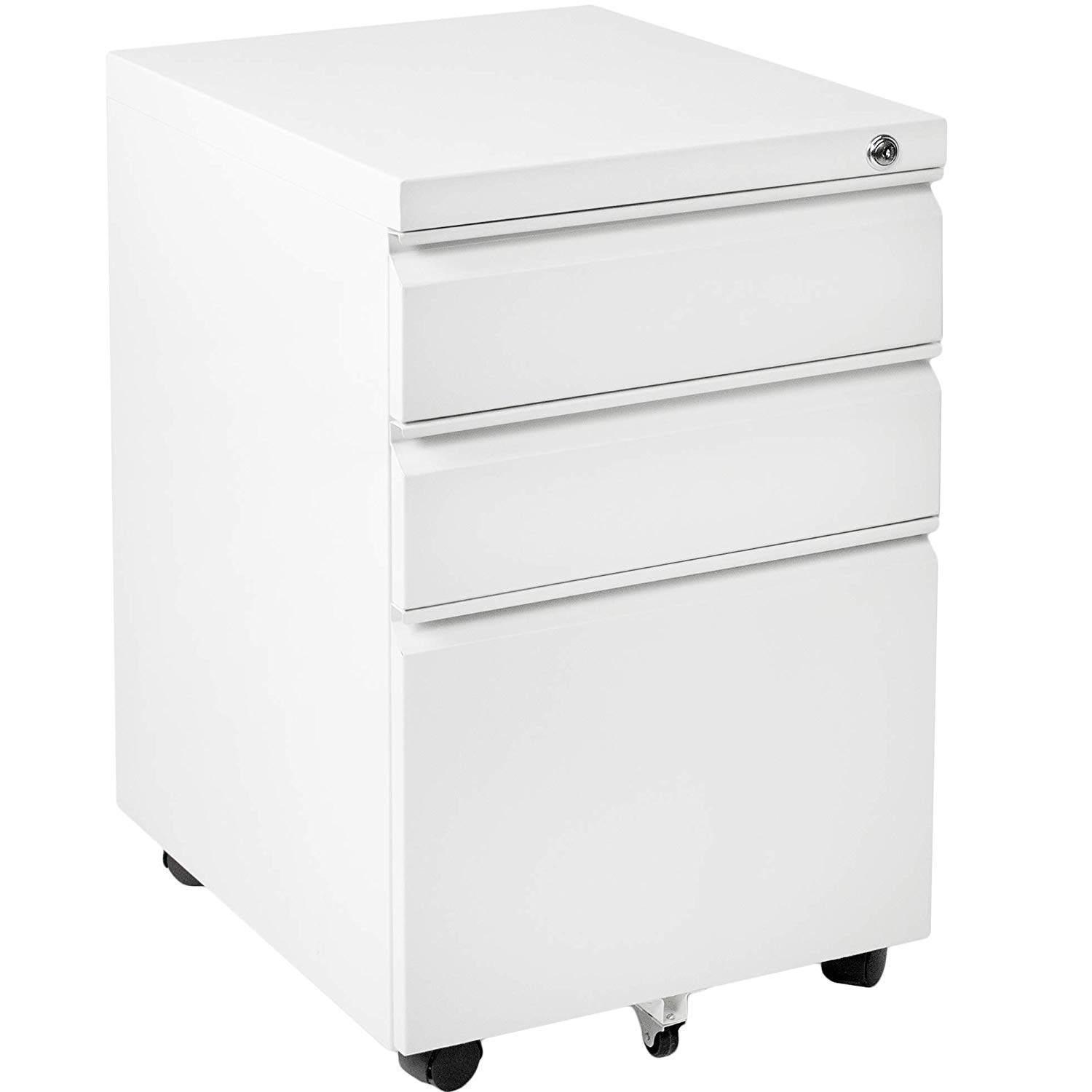 INVIE Mobility Cabinet for Closet/Office, Rolling Filing Cabinet 3 Drawers Fully Assembled White