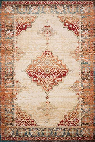 Loloi ll Isadora Collection Distressed Persian Area Rug, 5 x 7 -3 , Ivory