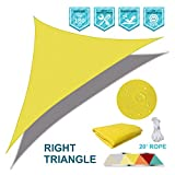 Coarbor Waterproof UV Block 12'x12'x17' Right Triangle Yellow Sun Shade Sail Canopy Triangle 180 GSM Polyester for Pergola Carport Awning Patio Yard- Customized