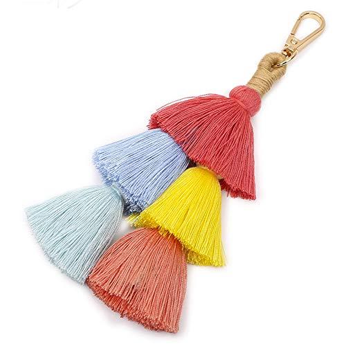 imeetu Fashion Creative Bohemian Tassel Women Handbag Charm Beach Party Keychain Pom Pom Wallet Accessories Pendant Key - Tassel Ring