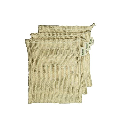 Simple Ecology Reusable Produce Bags - Organic Cotton Mesh - Small 3 Pack (washable, with drawstring, reusable grocery bags, shopping bags, storage bags)