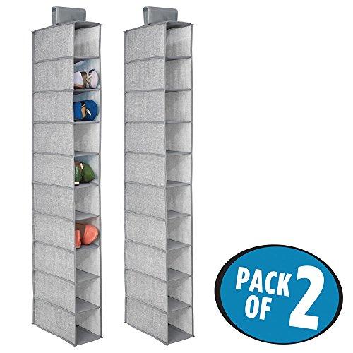 mDesign Fabric Hanging Closet Storage Organizer, for Shoes, Handbags, Clutches - Pack of 2, 10 Shelves, (Flat Storage Racks)