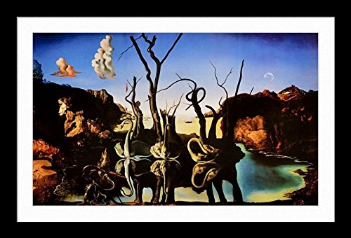 Les Elephants Dali - buyartforless IF HG AP596 36x24 2 SM Framed Swans Reflecting Elephants by Salvador Dali Matted 36X24 Museum Art Print Poster