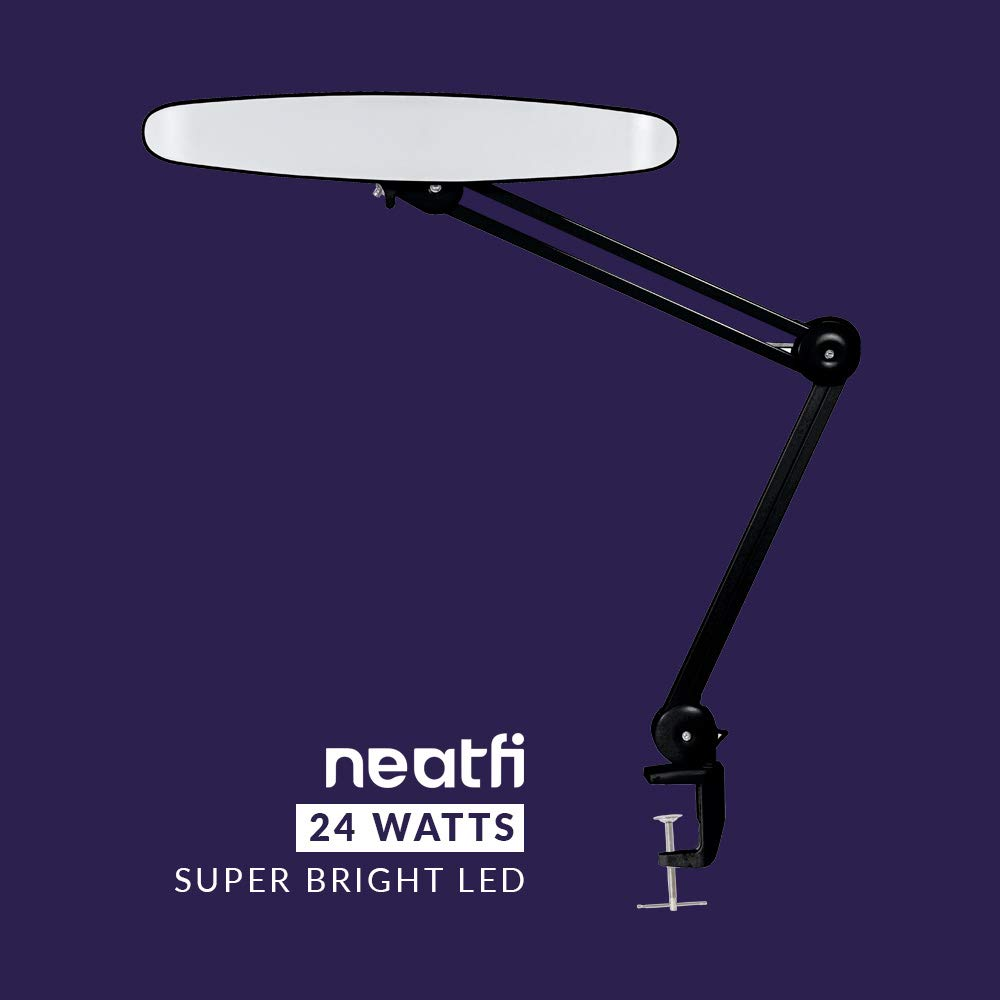 Neatfi XL 2,200 Lumens LED Task Lamp with Clamp, 24W Super Bright Desk Lamp, 117 Pcs SMD LED, 20 Inches Wide Lamp, 4 Level Brightness, Dimmable, Eye-Caring LED Lamp, Table Clamp LED Light Black