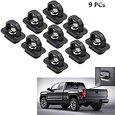 9pcs Tie Down Anchors Truck Bed Side Wall Anchor for 07-18 Chevy Silverdo GMC Sierra 15-18 Chevy Colorado GMC Canyon