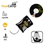 AceCamp Solar Camping Shower Bag 5 gallons/20L Solar Heating Premium Outdoor Shower Camping Water Bathing Bag Outdoor Travel Hiking Climbing Portable