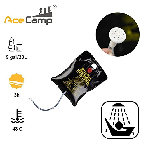 AceCamp Solar Camping Shower Bag 5 gallons/20L Solar Heating Premium Outdoor Shower Camping Water Bathing Bag Outdoor Travel Hiking Climbing Portable by AceCamp