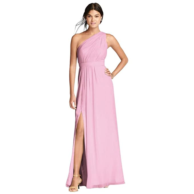 18da978521ba0 Long One-Shoulder Crinkle Chiffon Bridesmaid Dress Style F18055, Tickled,  24: Amazon.ca: Clothing & Accessories