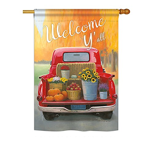 (Breeze Decor H113077 Welcome Harvest Truck Fall Harvest & Autumn Decorative Vertical House Flag, 28