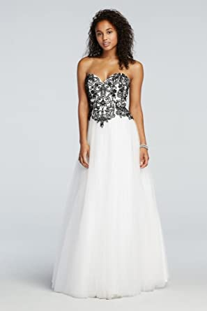 f90314c9a54 David s Bridal Floral Beaded Prom Dress with Tulle Net Skirt Style 50822
