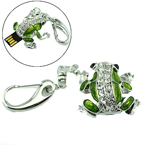 16GB Frog Pendant Crystal U-disk USB Flash Drive (Green)