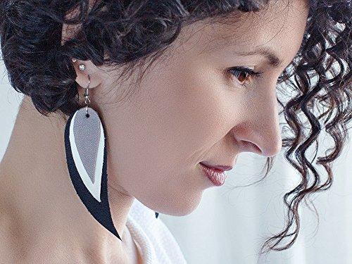 long earrings tribal Earrings Black layered earrings white and yellow Feather Leather Earrings dangle earrings Boho earrings