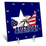3dRose Alexis Design - America - Map and Flag of the USA, Proud to be an American text on blue - 6x6 Desk Clock (dc_270546_1)