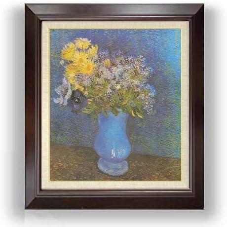ゴッホ ライラック、ヒナギクとアネモネのある花瓶 F10 油絵直筆仕上げ| 絵画 10号 複製画 ブラウン額縁 675×601mm